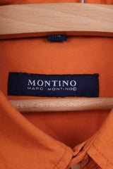 Marc Montino Mens XL Casual Shirt Orange Cotton Long Sleeve Button Down Collar