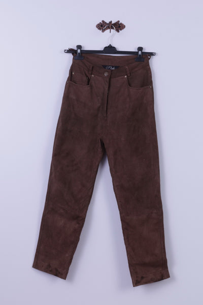 Style File Womens 10 S Trousers Brown 100% Leather Suede Retro High Waist Pants