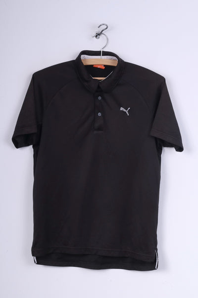 Puma Mens S Polo Shirt Black Sportswear Detailed Buttons Top
