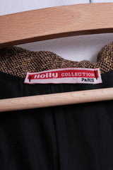 Holly Collection Paris Womens S/M Blazer Shiny Ribbon Brown Top Suit Petite - RetrospectClothes
