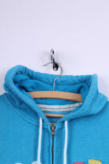 Hollister California Womens L (M) Sweatshirt Hooded Jumper Full Zipper Blue Aloha Hoodie