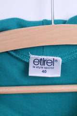 Etirel Womens 40 M/L Shirt Blouse Golf Zip Neck Cotton Sea Color - RetrospectClothes