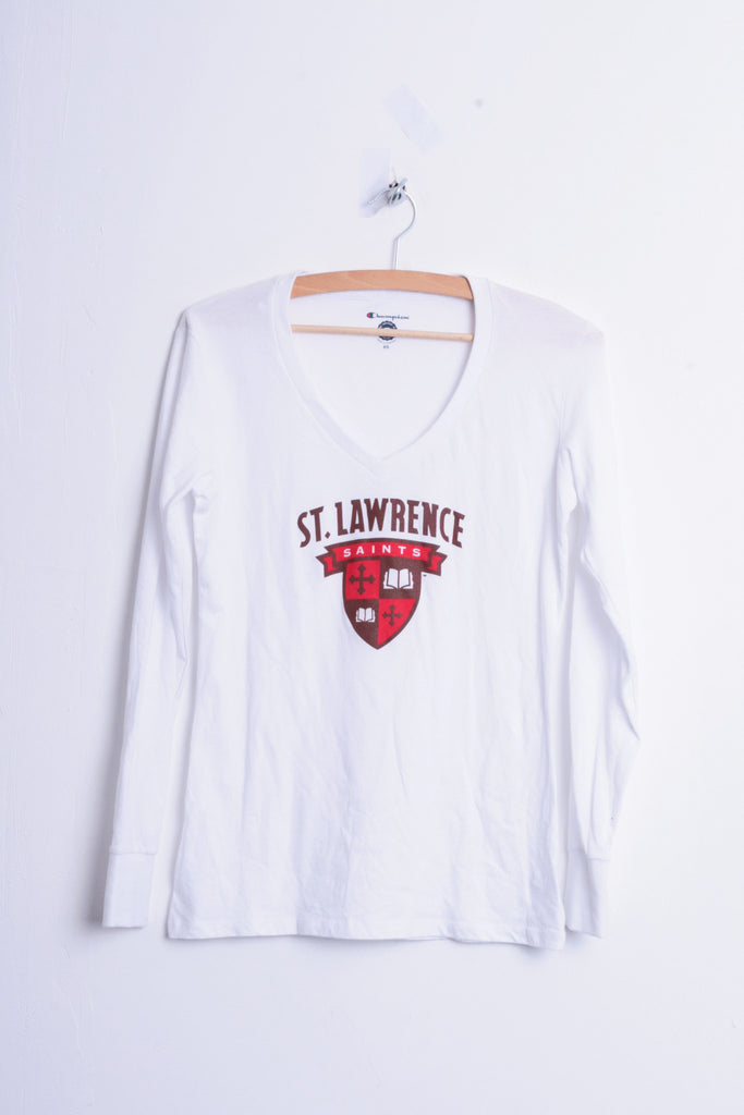 Champion St. Lawrence Saints Womens XS Shirt Blouse V Neck White Cotton - RetrospectClothes