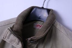 Levi's Womens M Jacket Bomber Khaki Cotton Paded Classic Full Zipper Top