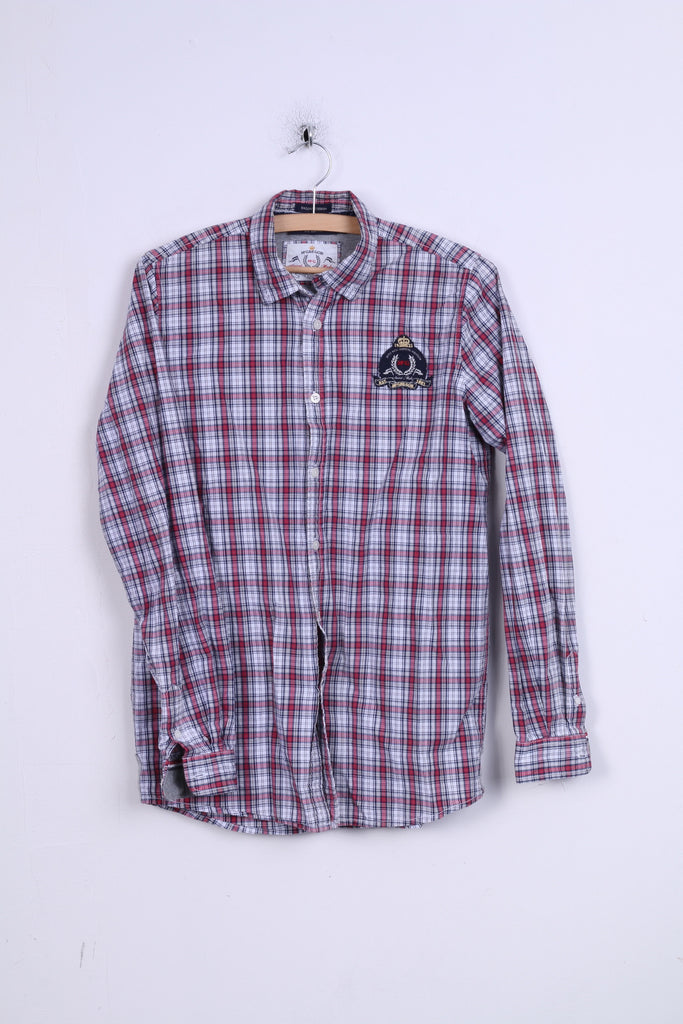 McGregor Boys 176 Casual Shirt Check Button Down Collar Cotton Long Sleeve