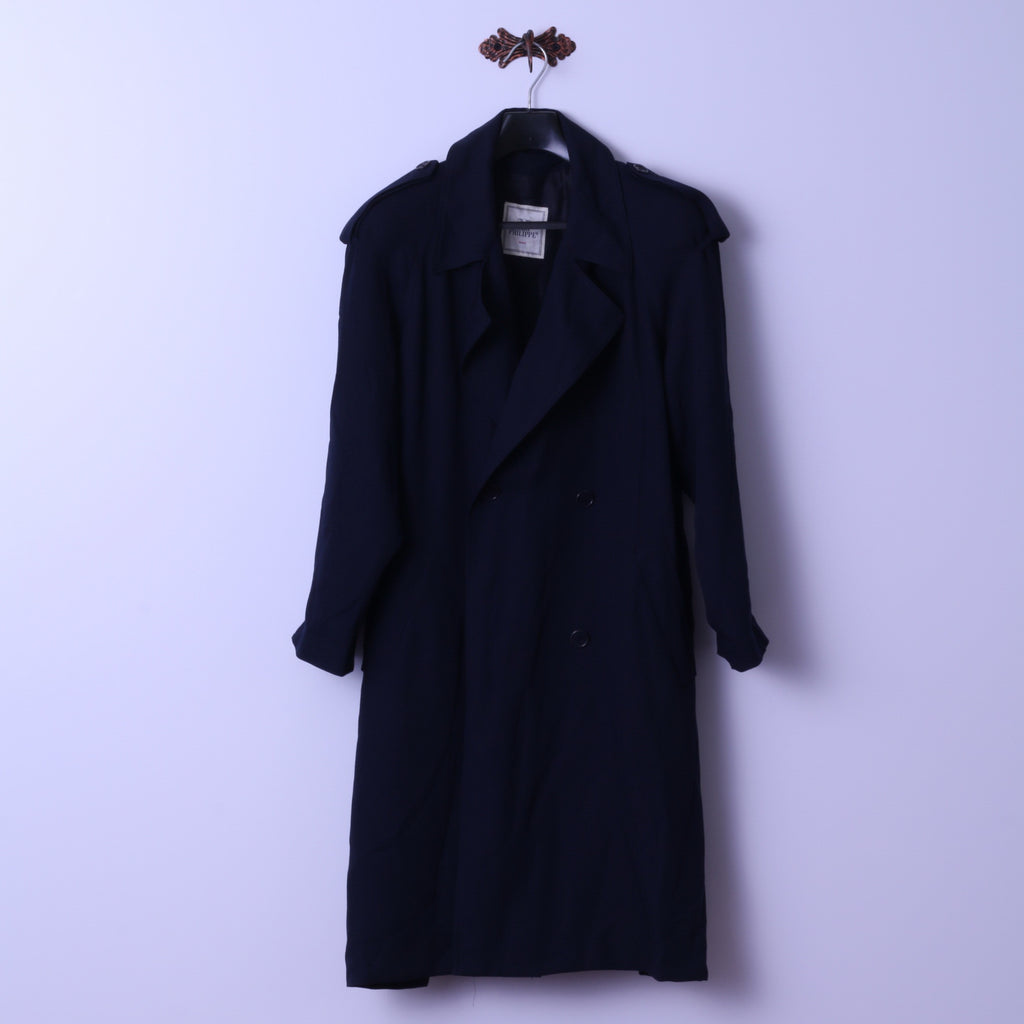 Mari Philippe Paris Womens 16 42 Coat Navy Wool Blend Lightweight Double Breasted