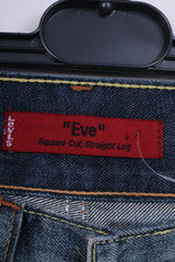 Levi's Eve Square Womens W28 L30 Trousers Denim Cut Stright Leg Navy Washed