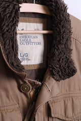 American Eagle Outfitters Mens L Jacket Brown Cotton Padded
