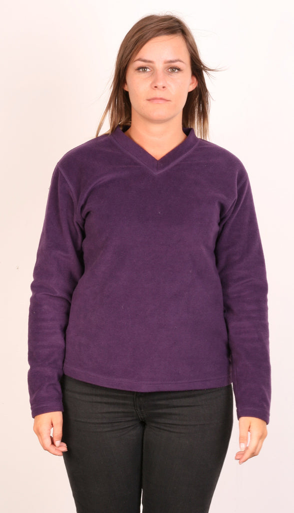 Peter Storm Womens L Fleece Jacket V Neck Purple Long Sleeve - RetrospectClothes