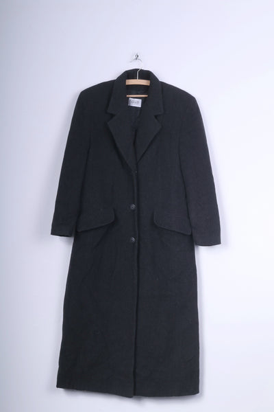 Gabriela Benelli Womens 36 S Coat Charcoal Wool Long Single Breasted Vintage
