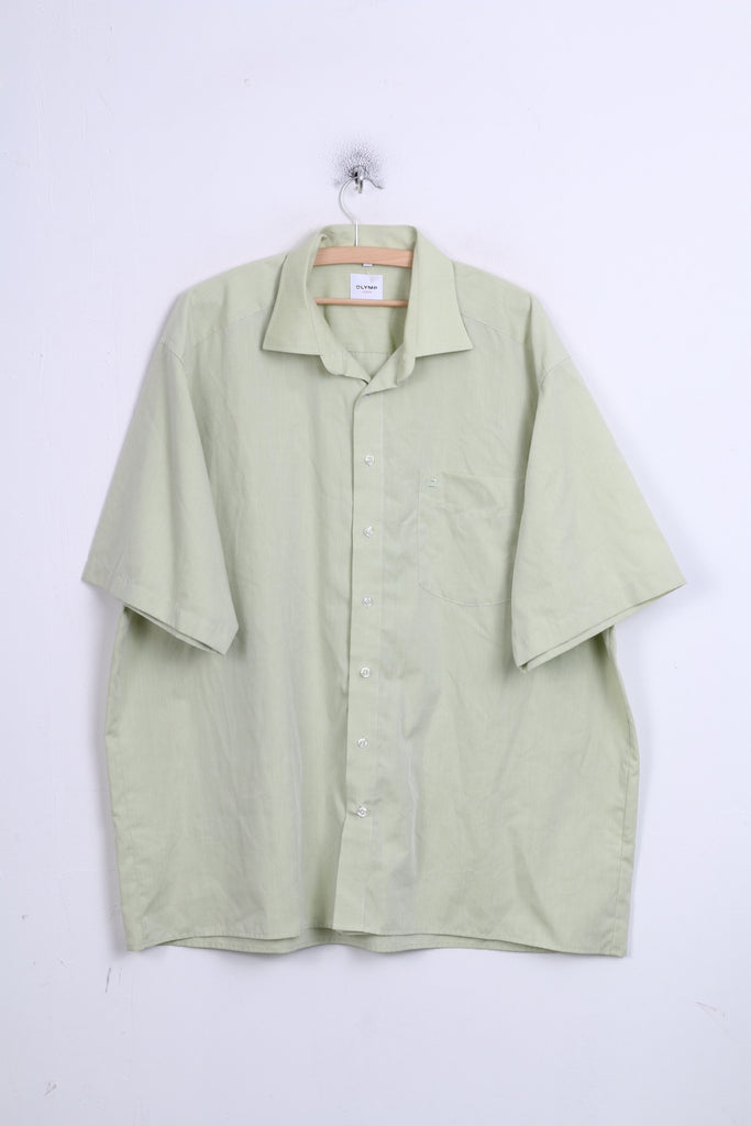 OLYMP Luxor Mens XXL Casual Shirt Green Short Sleeve Standard Collar 45