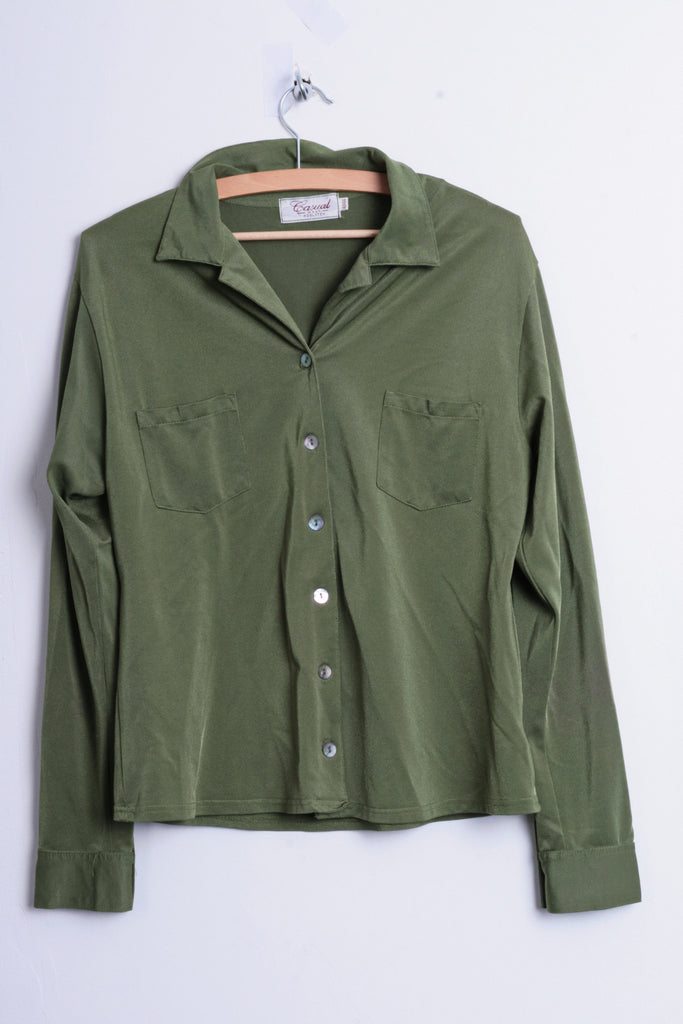 Casual Wear Adelsten Womens 42/44 M/L Nylon Blouse Blazer Green Slippery By The Touch - RetrospectClothes