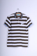 Bench Mens L Polo Shirt Brown White Striped Cotton Captain Short Sleeve