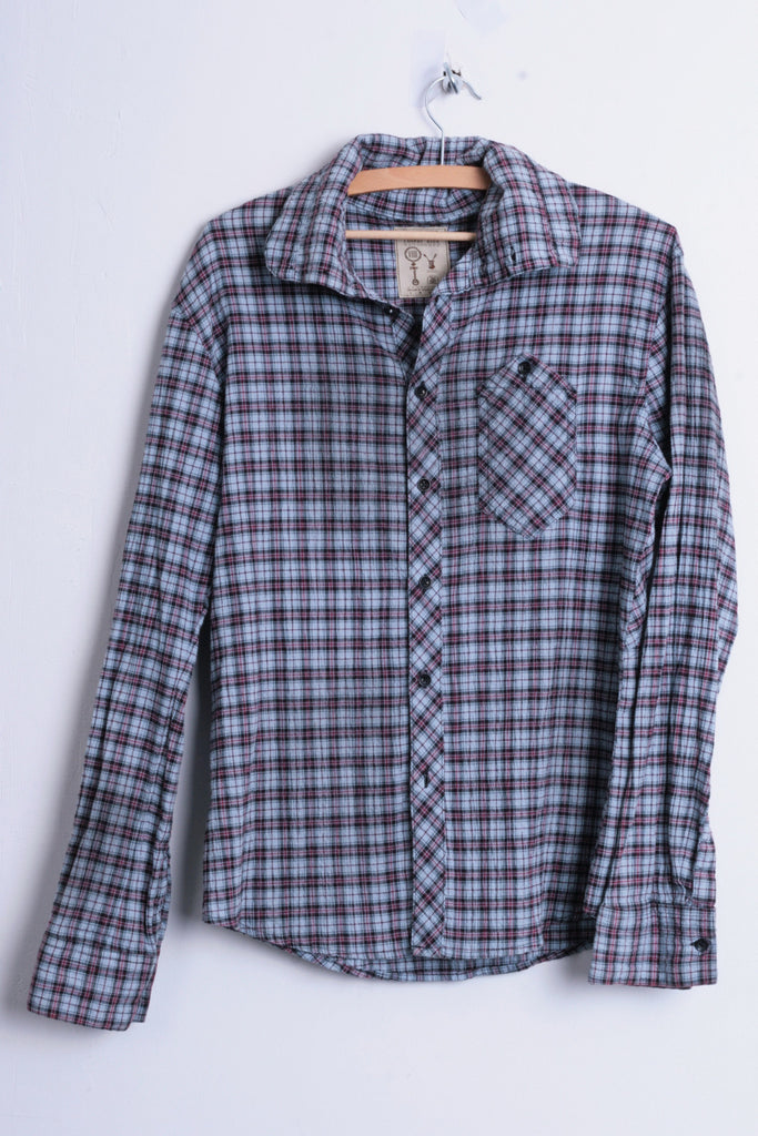 Pearly King Womens S Casual Shirt Check Blue Cotton Heavy Tailoring - RetrospectClothes