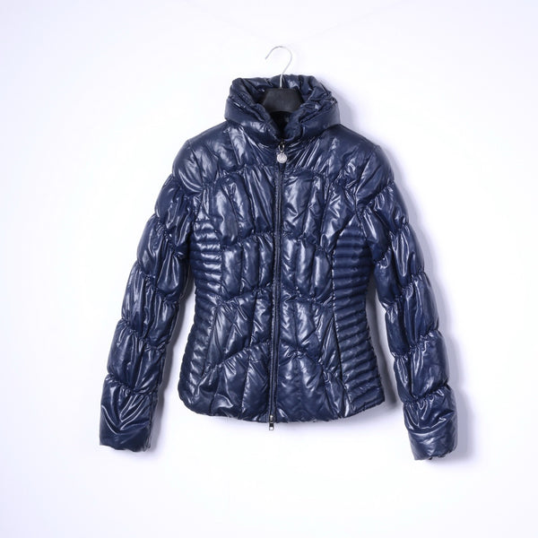Fornarina Womens M (S) Down Jacket Navy Padded Goose Warm Full Zipper Glam Top