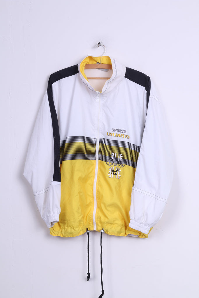 CANYON Mens L Track Top Jacket White Full Zipper Sports Unlimited Vintage