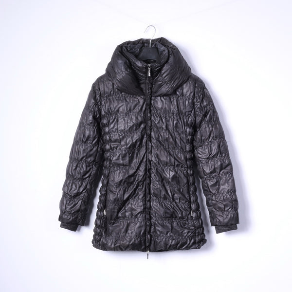 Feyem Womens M (S) Down Jacket Black Long Full Zipper Quilted Made in Italy
