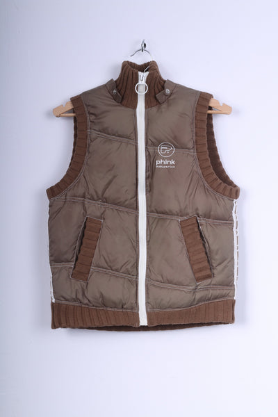Phink Industries Womens XL 176 (S) Bodywarmer Brown Nylon Zip Up Vest