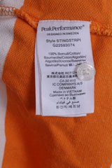 Peak Performance Mens S Polo Shirt Striped Orange Cotton Short Sleeve