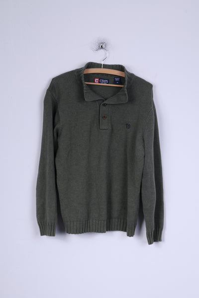 Chaps Mens M Jumper Green Cotton Buttoned Polo Neck Sweater