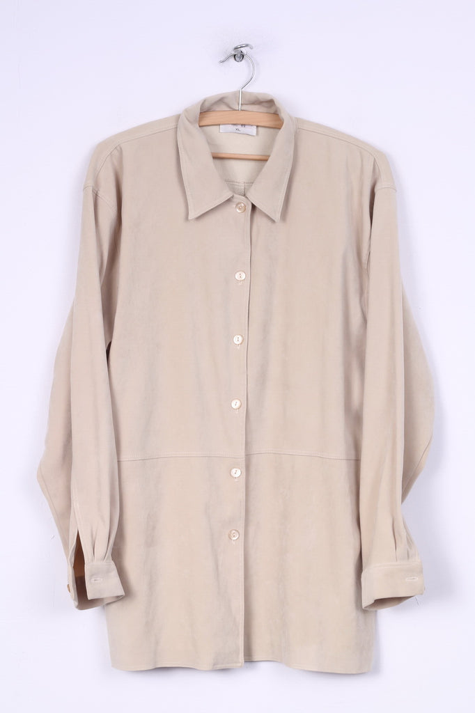 Strand Womens XL Casual Shirt Blouse Long Sleeve Retro Beige