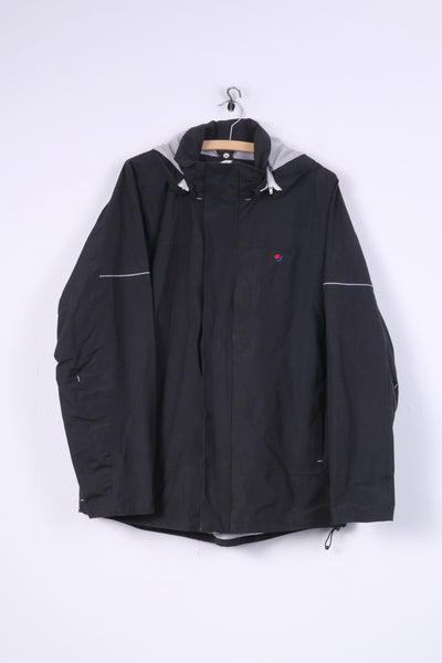 Slazenger Mens L Jacket Cotton Hooded Outdoor Full Zipper Black