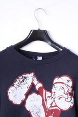 Divided by H&M Mens M Sweatshirt Navy Cotton Graphic Popeye Blouse Popey