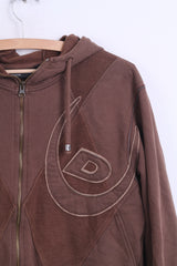 Duck And Cover Mens M Fleece Sweatshirt Hood Top Brown Cotton - RetrospectClothes