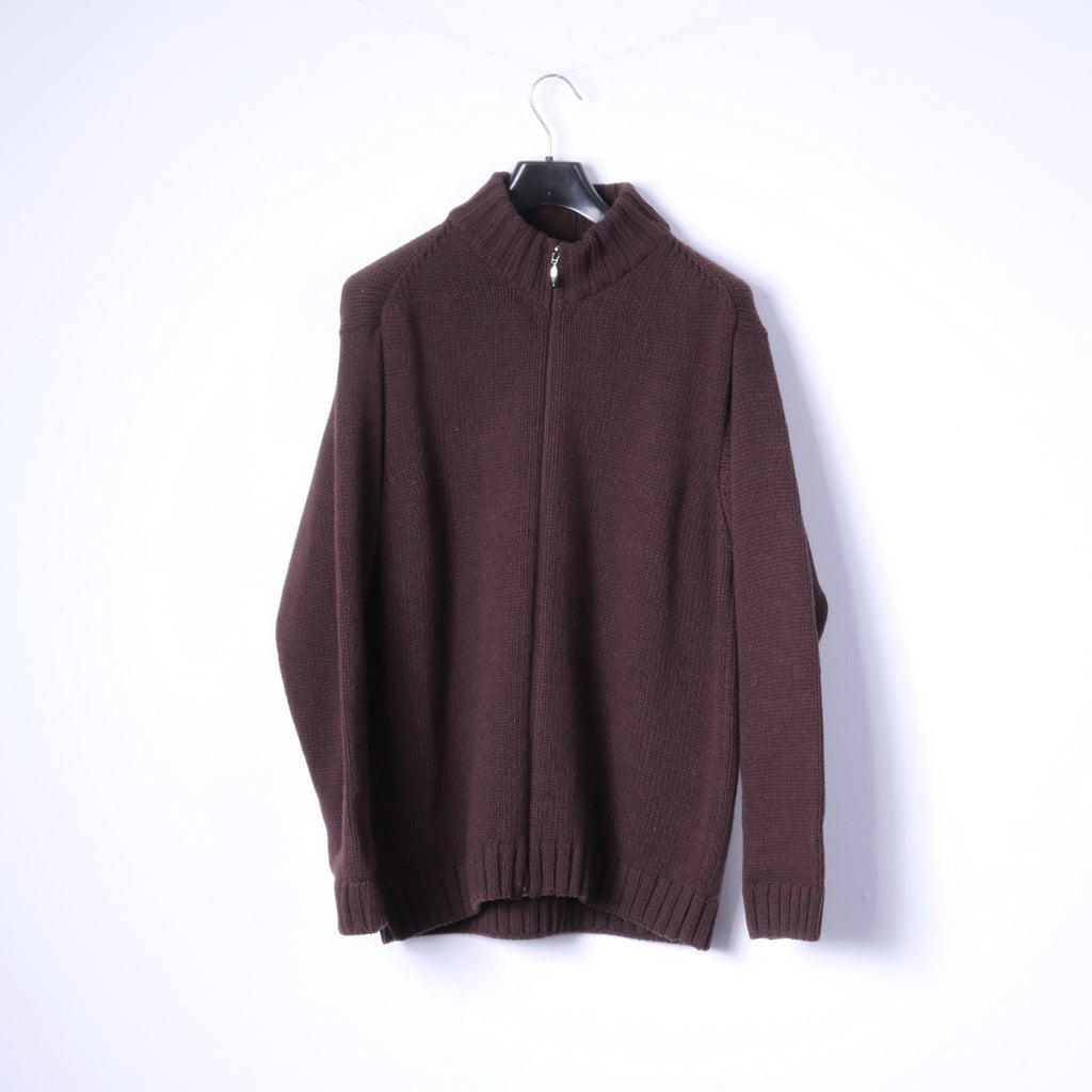 Strellson Swiss Cross Mens XXL Sweater Brown Zip Up Cardigan Wool Blend Made in Italy