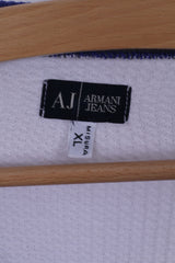 Armani Jeans Mens XL Shirt White Long Sleeve Stretch Fitted AJ Cotton
