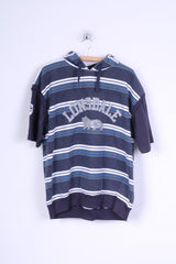 Lonsdale London Mens L Sleeveless Blue Striped Hooded Cotton Vest