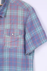 River Island Mens L (M) Casual Shirt Check Blue Short Sleeve Summer Top Snaps