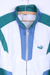 Puma Mens S Track Top Jacket White Nylon Waterproof Zip Up Retro