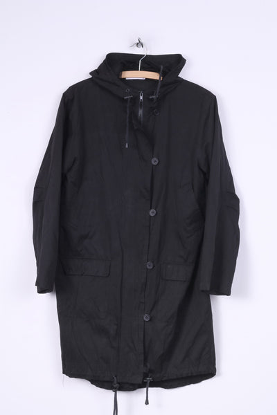 Jasmin Womens 38 M Parka Long Jacket Black Full Zipper Hooded Pocket