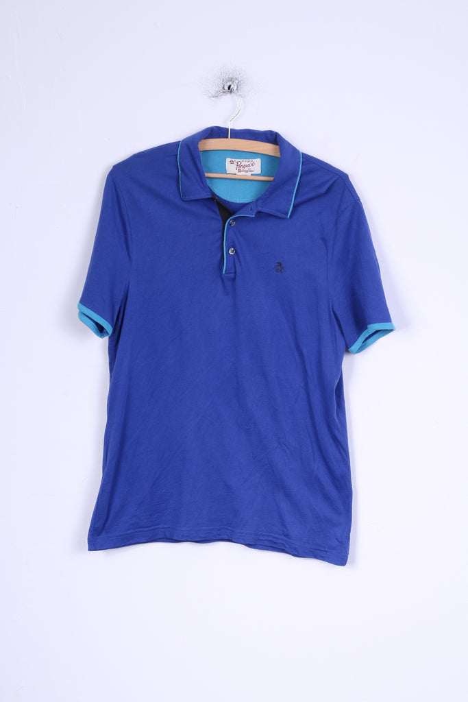 Penguin Mens M Polo Shirt Blue Cotton Classic Fit Stretch Top