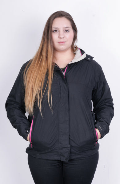 Killtec Womens L 14 Jacket Hood Full Zipper Black Waterproof - RetrospectClothes