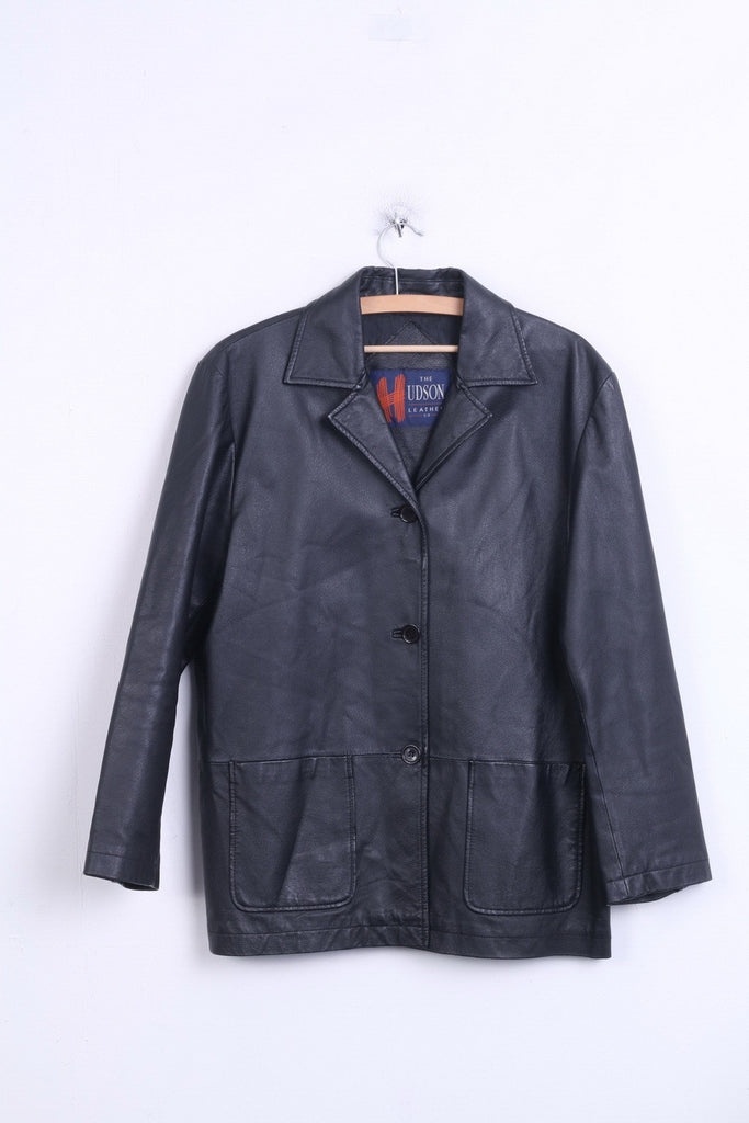 The Hudson Womens 14 40 L Jacket Black Leather Blazer Single Breasted - RetrospectClothes