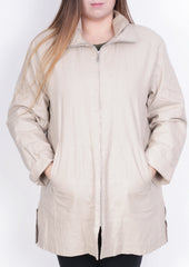 Loft Fashion Womens 42 L Coat Jacket Beige Full Zipper Linen - RetrospectClothes