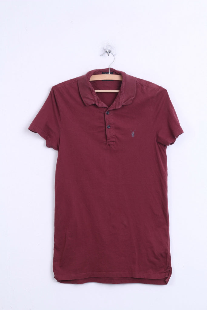 All Saints Spitalfields Mens S Polo Shirt Maroon Top Cotton - RetrospectClothes