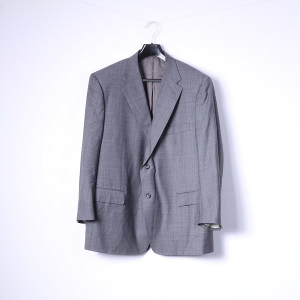 Corneliani Mens 2XL Blazer Top Suit Dark Grey Super 120s Extrafine Merinos
