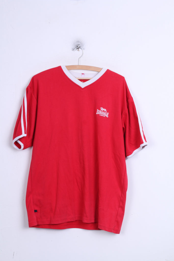 Lonsdale London Mens L Shirt Red V Neck Sport Training