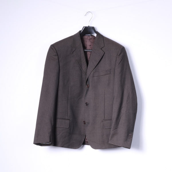 Stuvard - Mooise Angelico Mens S Blazer Super 100s Top Suit Striped Brown Jacket