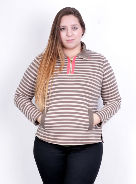 Tom Joule Womens L Sweatshirt Striped Brown Beige Zip Neck Cotton - RetrospectClothes