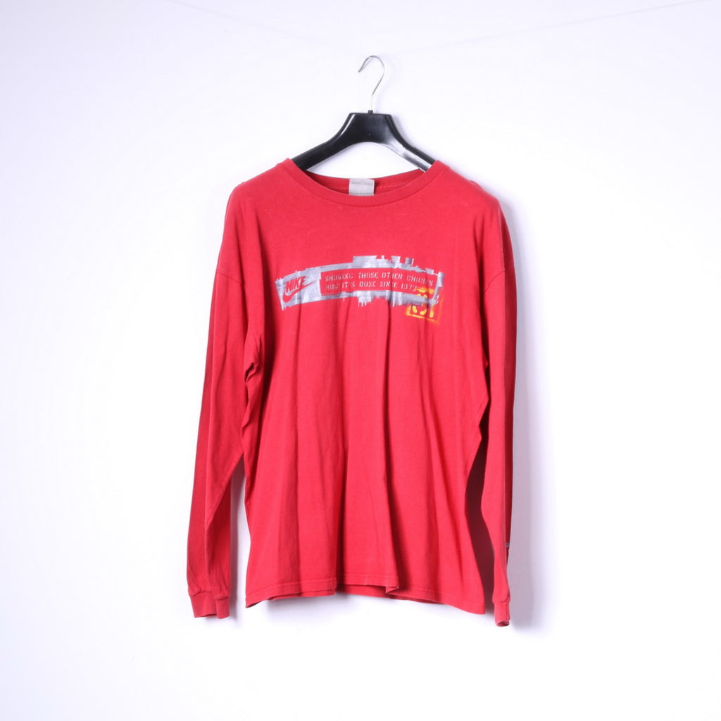 Nike Mens XL Shirt Red Crew Neck Long Sleeve Cotton Logo Top