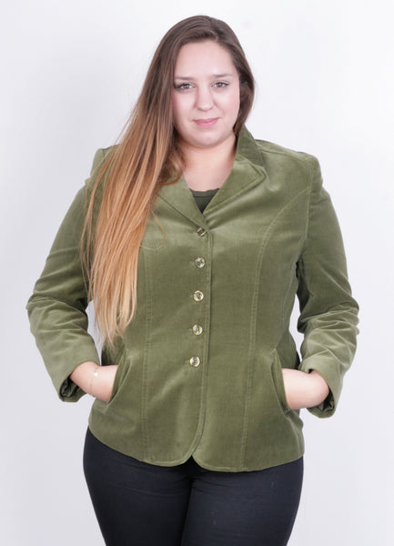 Adagio Womens 14 L Blazer Green Jacket Cotton Vintage - RetrospectClothes