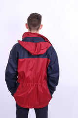 Etirel Mens M Jacket Parka Hood Red Waterproof Nylon Navy Blue Vintage Track Top - RetrospectClothes