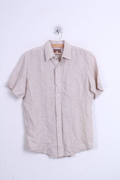 Vintage RED Mens S Casual Shirt Beige Linen Short Sleeve