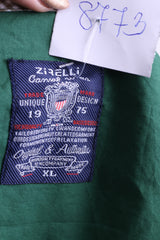 New Zirelli Mens XL Casual Shirt Dark Green Unique Cotton Buttons Down - RetrospectClothes