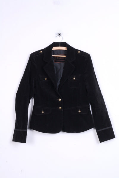Broadway Womens 38 M Jacket Black  Gold Buttons Cotton Blazer