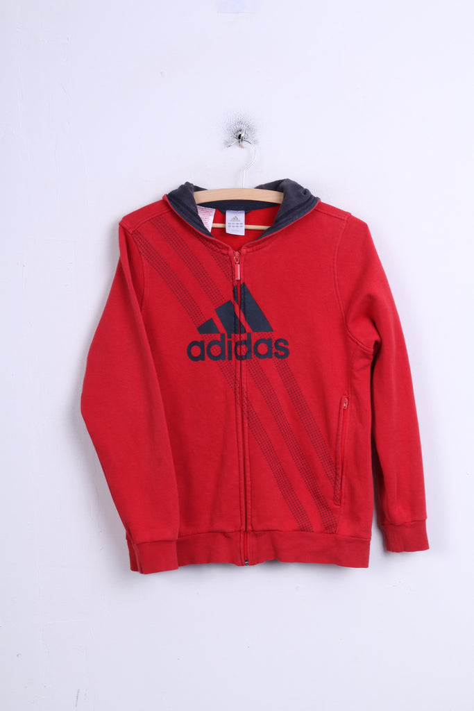 Adidas Boys 13-14Y Sweatshirt Red Hood Sport Cotton Jumper